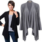 Ladies Long Sleeve Cardigan Open Front Draped Solid Casual Irregular Hem Top New