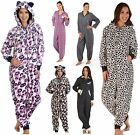Ladies Nightwear Fleece Onesie Womens Jumpsuit Playsuit All in One hooded Suit