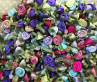 Ribbon Roses with dainty green leaves -Pretty Mixed Colours Pack of 20/30/50/100