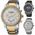 Men's Akribos AK894 Multi-Function Retrograde Day/Date Diamond Bezel Steel Watch