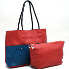 Women Leather Handbag 2 in 1 Shoulder Bag Two Tone Tote Bag with Pouch Pocket