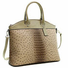 New Dasein Womens Handbags Ostrich Leather Tote Bag Shoulder Bag Satchel Purse