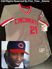 NEW Deion Sanders Cincinnati Reds Mens 1971 1987 Style Road Retro Jersey Braves