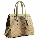 Dasein Women Ostrich Leather Top Handle Handbag Satchel Tote Purse Shoulder Bag