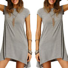 SEXY Womens Casual Short Sleeve Round Neck Party Mini Shirt Dress Beach Sundress