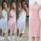 Sexy Women Stripe Maxi Split Beach Party Casual Short Sleeve Long Bodycon Dress