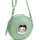 New Betty Boop Cylinder Women Leather Crossbody Bag Messenger Bag w/ Rhinestones $24.99 USD