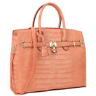 New Womens Handbag Leather Satchel Briefcase Tote Bag Shoulder Bag Padlock Purse