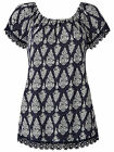 Anthology @ Marisota BLUE Printed Shortsleeved Jersey GYPSY Top Sizes 14 to 32