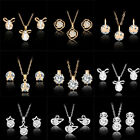 Wholesale Wedding Bridal Jewelry Set 18K Gold Plated Crystal Necklace Earrings