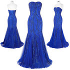 Blue NEW Mermaid Prom Pageant Party Dress Formal Evening Sweetheart Wedding Gown