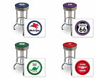 """FC569 24"""" OR 29"""" TALL VINTAGE GAS GARAGE AUTO SHOP THEMED SEAT CHROME BAR STOOLS"""