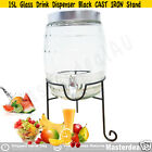 15/10/8L Water Glass Drink Dispenser TUSCAN CAST IRON Beverage Summer Party GIFT
