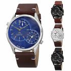 Men's August Steiner AS8167 Dual Time Stamped Dial Genuine Leather Strap Watch