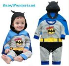 Baby Boys Batman 2PCS Long Sleeves One Piece Jumpsuit + Cape Costume Size 0,1,2
