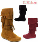 Women's Zipper Comfort Three Layers Fringe Mid Calf Flat Boots Size 5.5 - 10 NEW