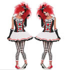 Women Clown Harlequin Jester Costume Halloween Medieval Adult Fancy Dress Outfit