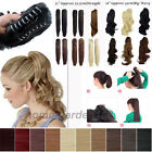 UK Clip In Ponytail Hair extensions Curly Straight Wavy Claw Jaw Pony Tail he9