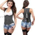 Women's Steampunk Denim Black Lace-up Underbust Corset Bustier Top G-string set