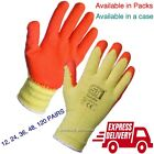 120 PAIRS LATEX COATED ORANGE RUBBER WORK GLOVES BUILDER GARDENING SAFETY GRIP