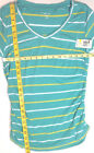 Style&Co. Petite NWT Cotton V-neck Ruched Sides Short Sleeve Striped Top Green