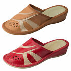 Womens Ecological Leather Clogs, Slippers, Mules Wedge Heel Size 3 4 5 6 7 8