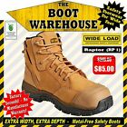 Wide Load Safety Work Boots, 'Raptor' (RP1). Extra Wide. Zip Side.
