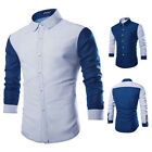 Stylish Men's Blue Casual Dress Slim Fit Tee T-Shirts Long Sleeve Dress Shirts