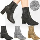 Womens Ladies Glitter Chunky Block Low Heel Ankle Boots Chelsea Party Shoes Size