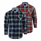 Mens Check Shirt Brave Soul Garfield Flannel Brushed Cotton Long Sleeve Casual