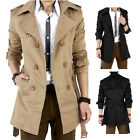 Men's Slim Double Breasted Trench Coat Long Jacket Overcoat Outwear Winter Warm
