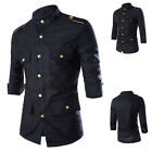 Men Fashion Stylish Casual Slim 3/4 Sleeve Safari Shirt Black Stand Collar Tops