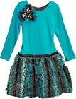 NEW Girls Turquoise w/Cheetah Faux Fur Drop Waist Dress by Isobella & Chloe