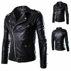 Men's Slim Fit PU Leather Biker Jacket Cool Motorcycle Coat Overcoat Outwear New