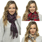Unisex Warm, Super Soft and Cosy Tartan Check Fleece Winter Scarf With Fringe