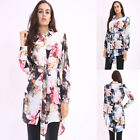 HOT Womens Sexy Long Sleeve Floral Casual Shirt Dress Blouse Cotton Tops T Shirt