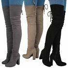 Kyпить Jazz Womens Mid High Block Heel Over Knee Tie Top Boots Ladies Shoes Stretch New на еВаy.соm