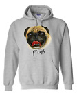 hooded Pullover Sweatshirt Hoodie Nature Dog Breed Pug Pet Lover