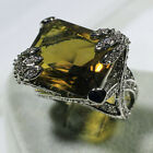 18K White Gold Filled Green Crystal CZ Women Fashion Jewelry Ring R3844-2 Sz5-10