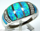 Blue Fire Opal & Topaz Inlay Solid 925 Sterling Silver Ring size 7,9,10