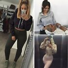 Fashion Womens Cropped Top Hoodie Long Sleeve Sweats Sweatshirt Pullover FT