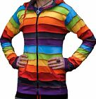 Women Stripe Patch Rainbow Hippy Jumper Pixie Hood Fastival Outer Hoodie Jacket