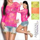 NEW WOMENS FASHION lacy DANCE TOP XS S M L long sleeve lace tops SEXY CLUBWEAR