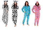 Ladies Onesie Horse Dog Cow Print Hooded Fleece All in One Onesies Play Suit