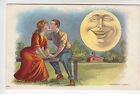 Couple Kiss - Huge Smiling Man in Moon Looks On - Embossed Chromo PC (572)