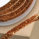 Old Gold 10mm Xmas Glitter Velvet Ribbon - Cards, Cake, Decoration, Craft