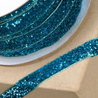 Turquoise 10mm Xmas Glitter Velvet Ribbon - Cards, Cake, Decoration, Craft