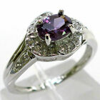 PRETTY 1 CT AMETHYST ROUND CUT 925 STERLING SILVER RING SIZE 5-10