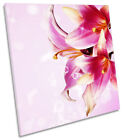 Floral Flower Pink Petals CANVAS WALL ART SQUARE Picture Print