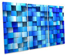 Abstract Blocks Blue CANVAS WALL ART TREBLE Box Frame Print